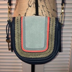 Fossil blue and gray leather crossbody purse